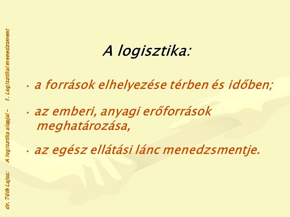 A logisztika fogalma A logisztika az anyagok - a forrásoktól a végső fogyasztókig terjedő - f ff fizikai áramlásának szervezésével és i ii irányításáv