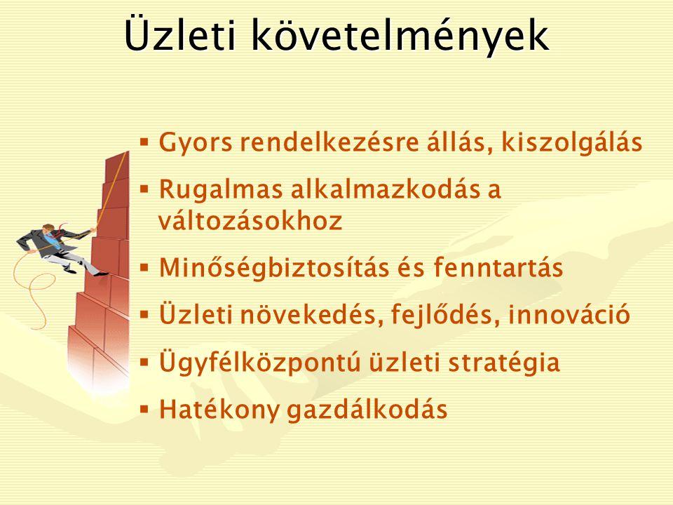 Üzleti követelmények  Gyors rendelkezésre állás, kiszolgálás  Rugalmas alkalmazkodás a változásokhoz  Minőségbiztosítás és fenntartás  Üzleti növekedés, fejlődés, innováció  Ügyfélközpontú üzleti stratégia  Hatékony gazdálkodás