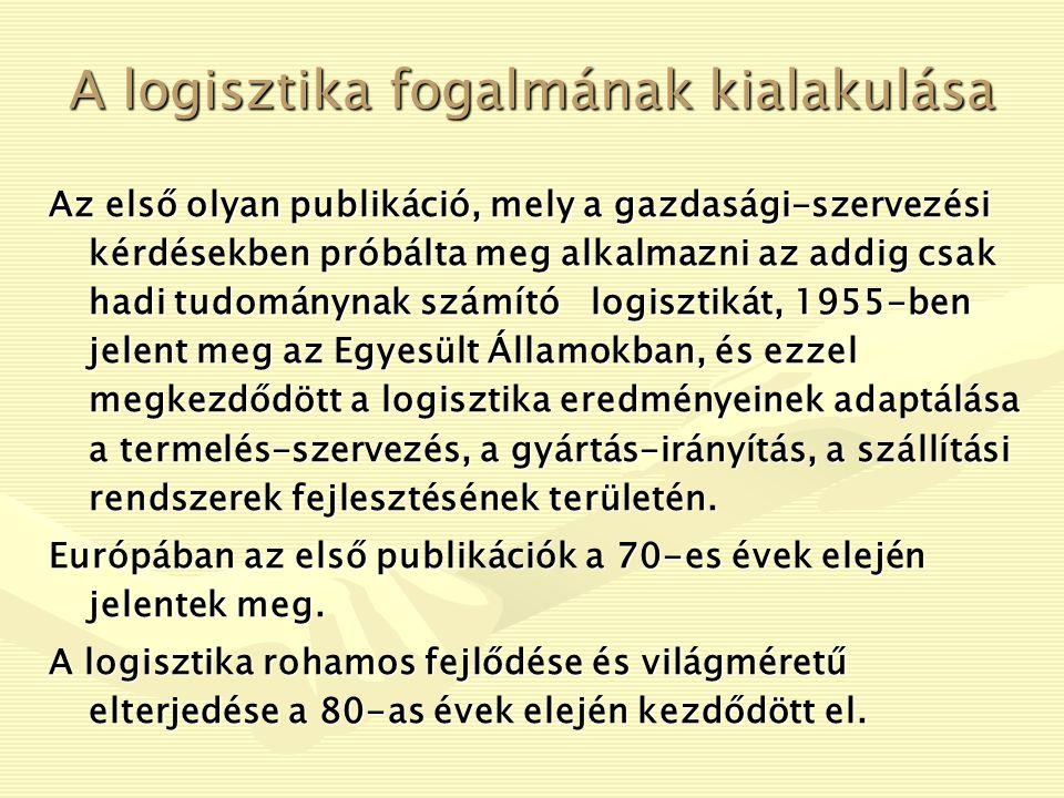 A logisztika fogalmának kialakulása A logisztika szó egyébként feltehetőleg görög eredetű, és a