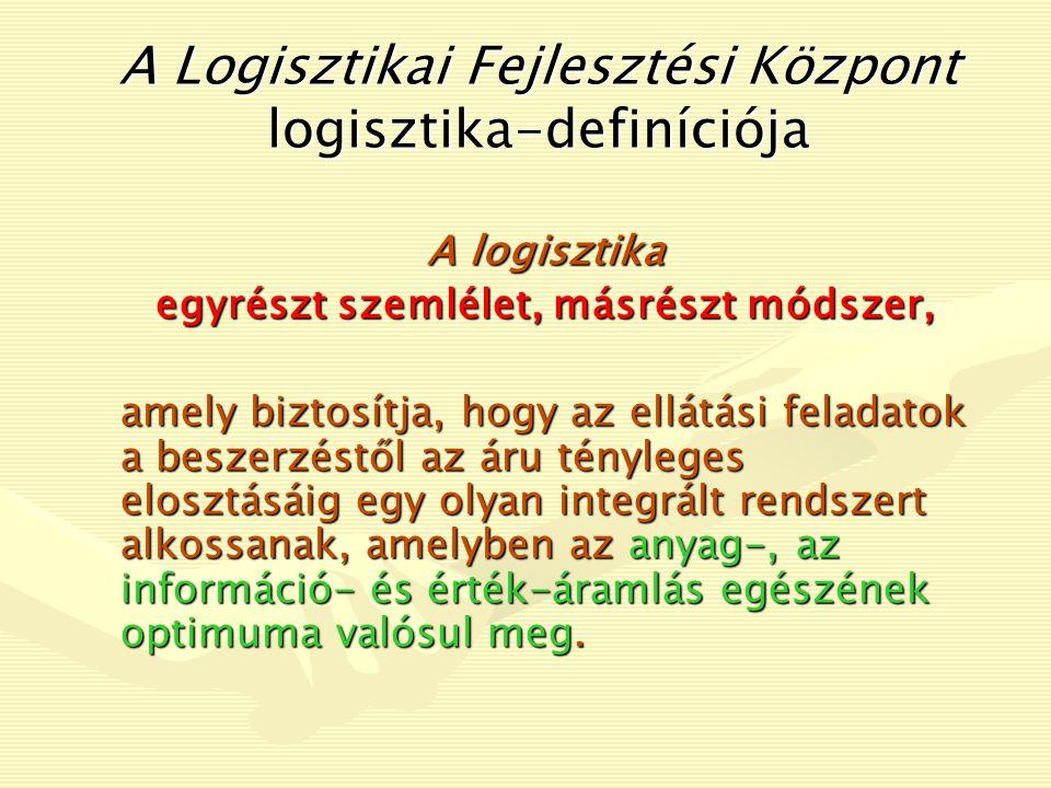 Német értelmezés Gysi (1975): A logisztika nem más, mint a rendszerelmélet alkalmazása az anyagáramlás területén. Jünemann (1989): A logisztika anyagok, személyek, energiák, és információk rendszereken belüli áramlásának tervezésével, szervezésével, irányításával, és ellenőrzésével foglalkozó tudomány.