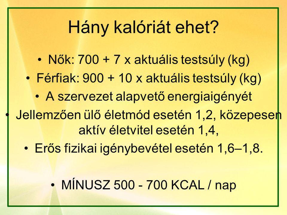 Hány kalóriát ehet? •Nők: 700 + 7 x aktuális testsúly (kg) •Férfiak: 900 + 10 x aktuális testsúly (kg) •A szervezet alapvető energiaigényét •Jellemzőe