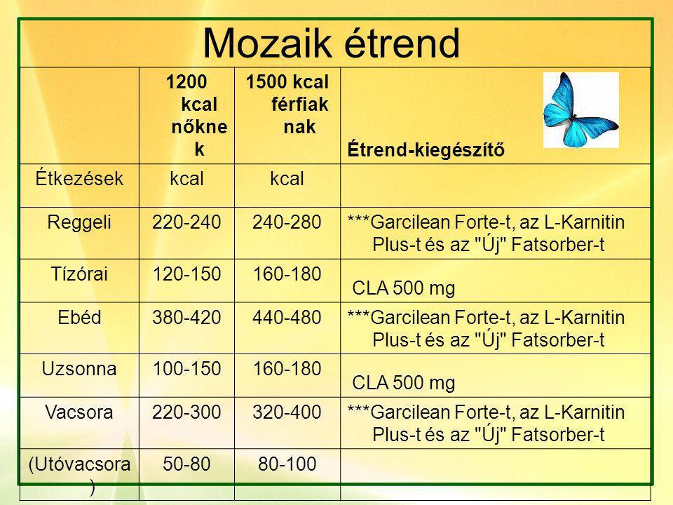 Mozaik étrend 1200 kcal nőkne k 1500 kcal férfiak nak Étrend-kiegészítő Étkezésekkcal Reggeli220-240240-280 ***Garcilean Forte-t, az L-Karnitin Plus-t és az Új Fatsorber-t Tízórai120-150160-180 CLA 500 mg Ebéd380-420440-480 ***Garcilean Forte-t, az L-Karnitin Plus-t és az Új Fatsorber-t Uzsonna100-150160-180 CLA 500 mg Vacsora220-300320-400 ***Garcilean Forte-t, az L-Karnitin Plus-t és az Új Fatsorber-t (Utóvacsora ) 50-8080-100