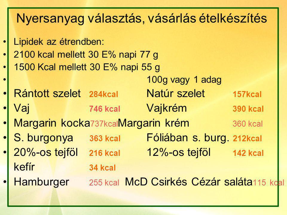 Nyersanyag választás, vásárlás ételkészítés •Lipidek az étrendben: •2100 kcal mellett 30 E% napi 77 g •1500 Kcal mellett 30 E% napi 55 g • 100g vagy 1 adag •Rántott szelet 284kcal Natúr szelet 157kcal •Vaj 746 kcal Vajkrém 390 kcal •Margarin kocka 737kcal Margarin krém 360 kcal •S.