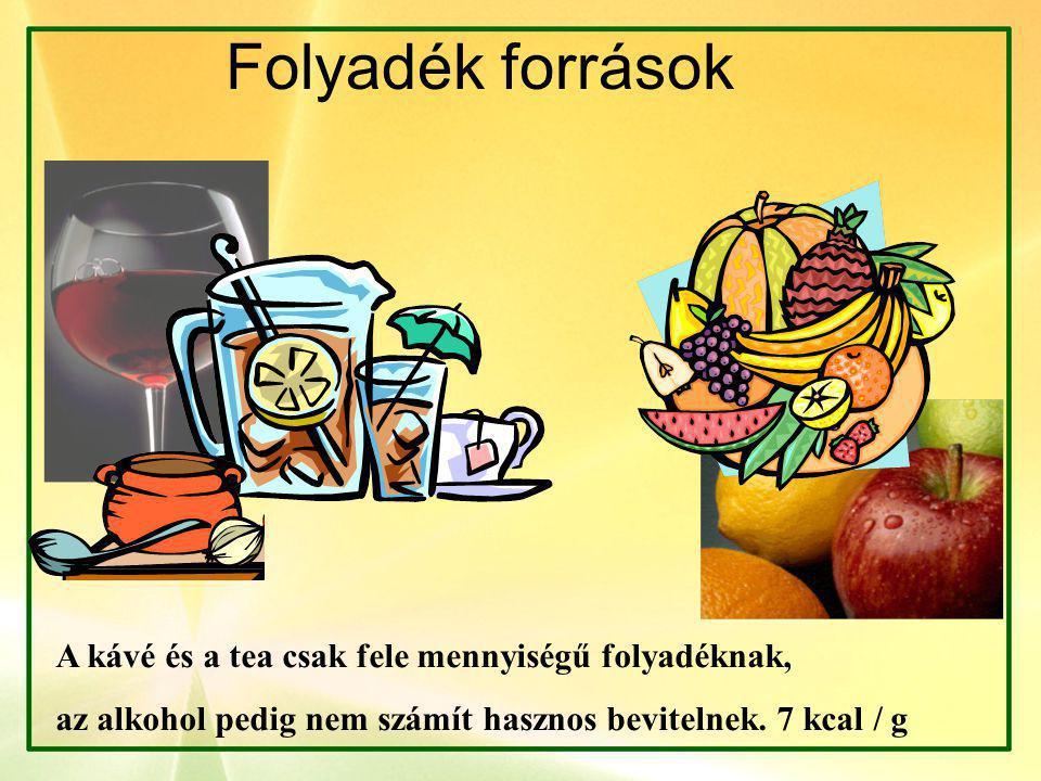 Folyadék források A kávé és a tea csak fele mennyiségű folyadéknak, az alkohol pedig nem számít hasznos bevitelnek.