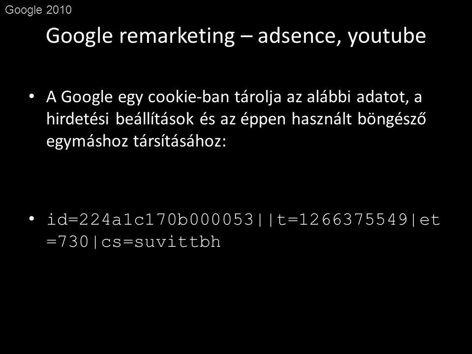 Google remarketing – adsence, youtube Google 2010 • A Google egy cookie-ban tárolja az alábbi adatot, a hirdetési beállítások és az éppen használt böngésző egymáshoz társításához: • id=224a1c170b000053||t=1266375549|et =730|cs=suvittbh
