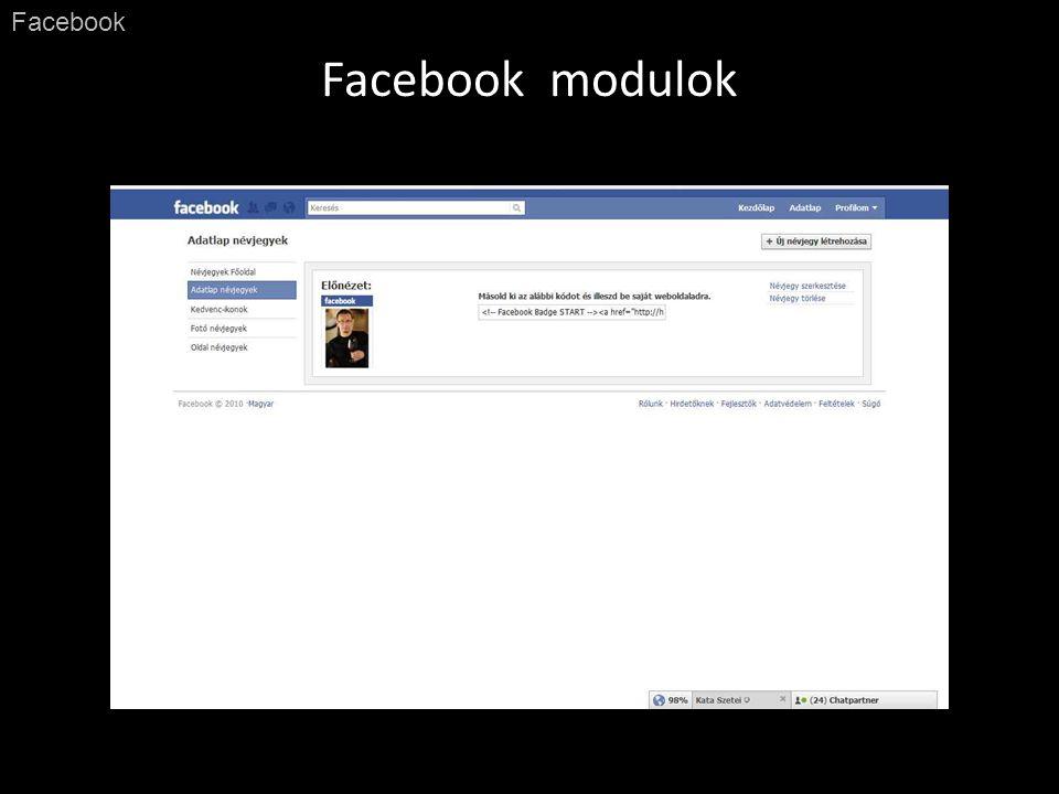 Facebook modulok Facebook