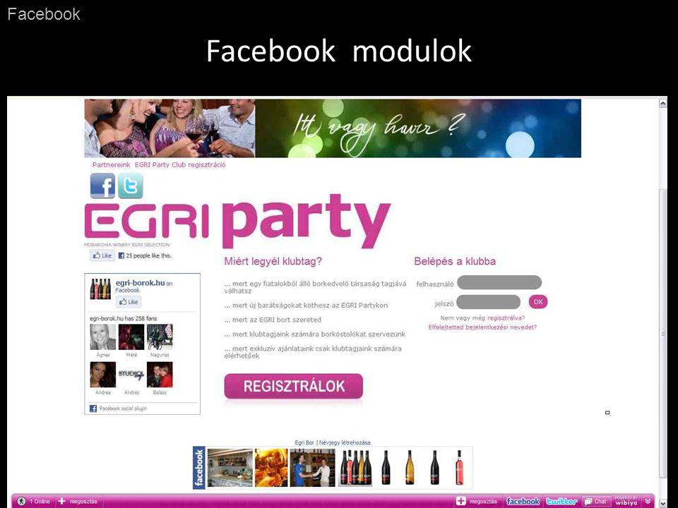 Facebook modulok Facebook Szálláshelyeknél képgaléria Webáruházaknál kedvelt termékek
