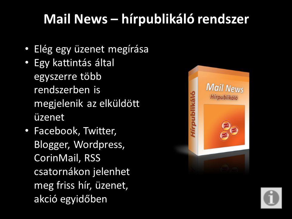 Mail News – hírpublikáló rendszer • Elég egy üzenet megírása • Egy kattintás által egyszerre több rendszerben is megjelenik az elküldött üzenet • Facebook, Twitter, Blogger, Wordpress, CorinMail, RSS csatornákon jelenhet meg friss hír, üzenet, akció egyidőben