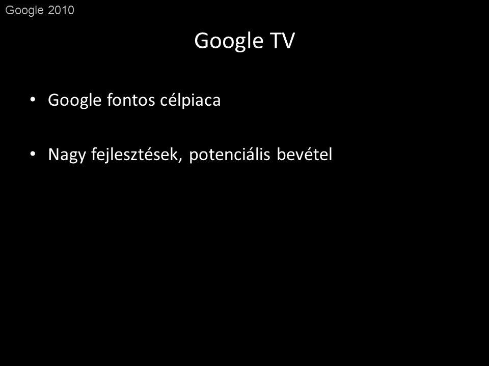 Google TV Google 2010 • Google fontos célpiaca • Nagy fejlesztések, potenciális bevétel