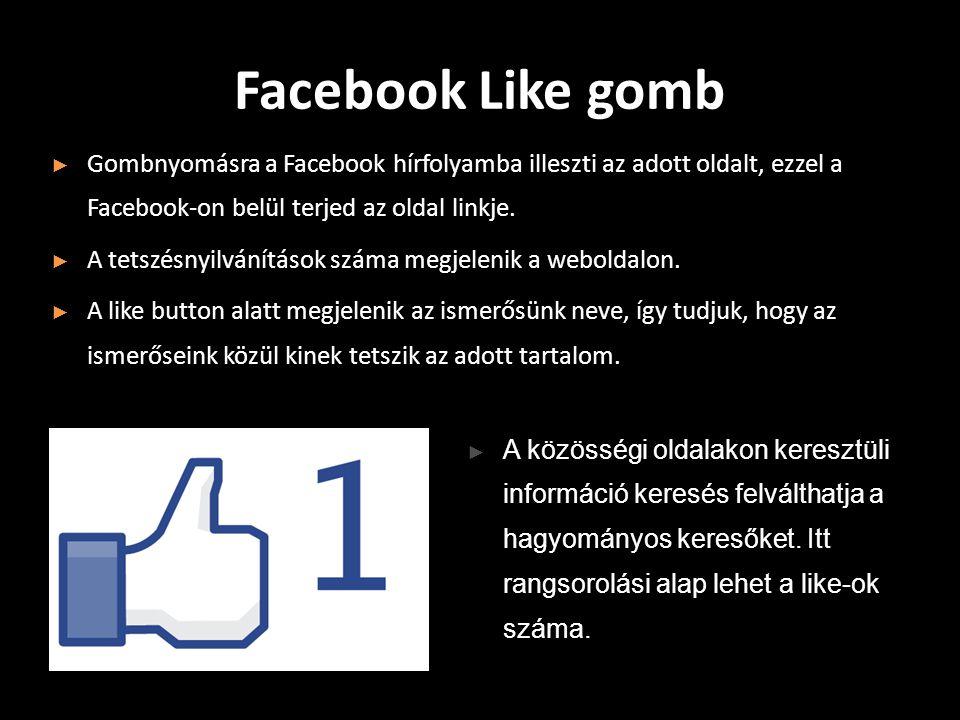Facebook Like gomb ► Gombnyomásra a Facebook hírfolyamba illeszti az adott oldalt, ezzel a Facebook-on belül terjed az oldal linkje.