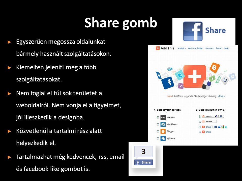 Share gomb ► Egyszerűen megossza oldalunkat bármely használt szolgáltatásokon.