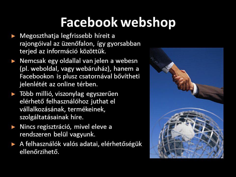 Facebook webshop ► Megoszthatja legfrissebb híreit a rajongóival az üzenőfalon, így gyorsabban terjed az információ közöttük.