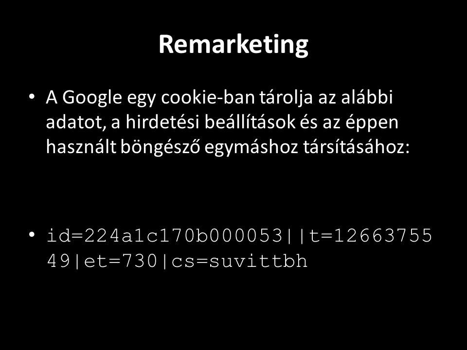 Remarketing • A Google egy cookie-ban tárolja az alábbi adatot, a hirdetési beállítások és az éppen használt böngésző egymáshoz társításához: • id=224a1c170b000053||t=12663755 49|et=730|cs=suvittbh