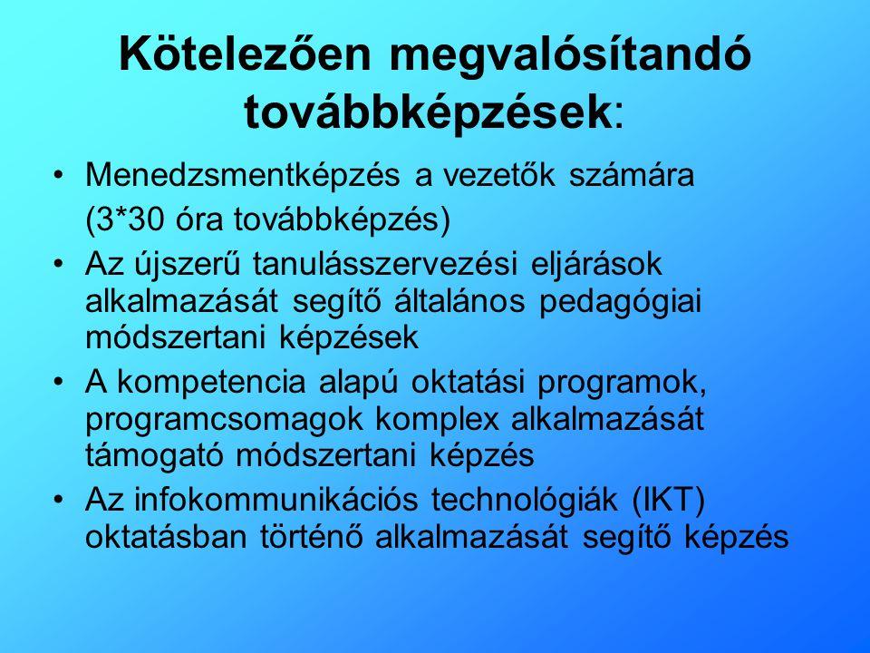 Kötelezően megvalósítandó továbbképzések: •Menedzsmentképzés a vezetők számára (3*30 óra továbbképzés) •Az újszerű tanulásszervezési eljárások alkalma