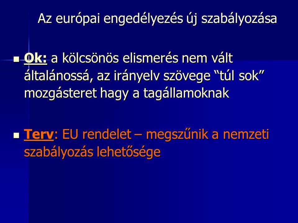 Az európai engedélyezés új szabályozása  Ok: a kölcsönös elismerés nem vált általánossá, az irányelv szövege túl sok mozgásteret hagy a tagállamoknak  Terv: EU rendelet – megszűnik a nemzeti szabályozás lehetősége