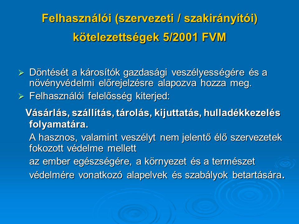 Felhasználói (szervezeti / szakirányítói) kötelezettségek 5/2001 FVM  Döntését a károsítók gazdasági veszélyességére és a növényvédelmi előrejelzésre