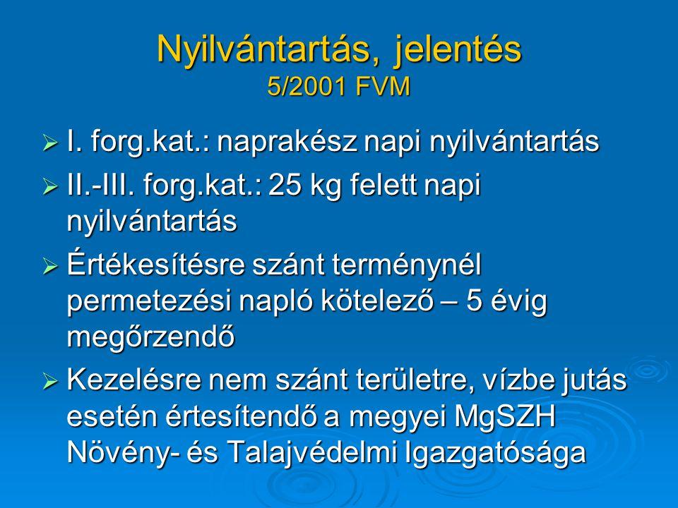  I.forg.kat.: naprakész napi nyilvántartás  II.-III.