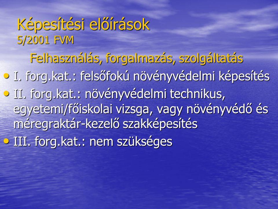 Képesítési előírások 5/2001 FVM Felhasználás, forgalmazás, szolgáltatás • I.