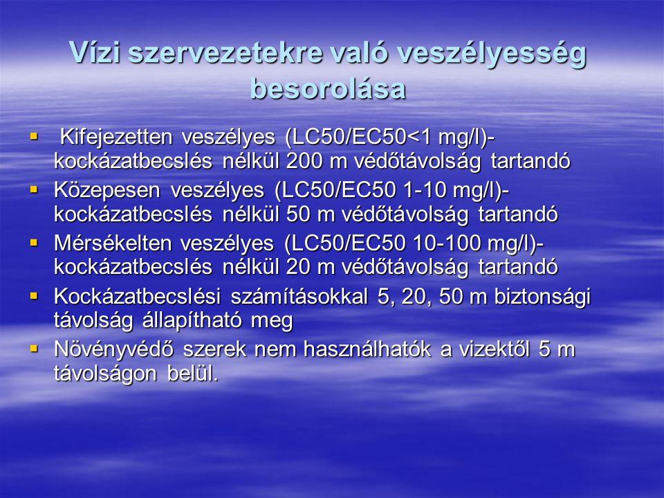 Vízi szervezetekre való veszélyesség besorolása  Kifejezetten veszélyes (LC50/EC50<1 mg/l)- kockázatbecslés nélkül 200 m védőtávolság tartandó  Közepesen veszélyes (LC50/EC50 1-10 mg/l)- kockázatbecslés nélkül 50 m védőtávolság tartandó  Mérsékelten veszélyes (LC50/EC50 10-100 mg/l)- kockázatbecslés nélkül 20 m védőtávolság tartandó  Kockázatbecslési számításokkal 5, 20, 50 m biztonsági távolság állapítható meg  Növényvédő szerek nem használhatók a vizektől 5 m távolságon belül.