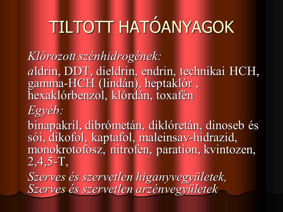 TILTOTT HATÓANYAGOK Klórozott szénhidrogének: aldrin, DDT, dieldrin, endrin, technikai HCH, gamma-HCH (lindán), heptaklór, hexaklórbenzol, klórdán, toxafén Egyéb: binapakril, dibrómetán, diklóretán, dinoseb és sói, dikofol, kaptafol, maleinsav-hidrazid, monokrotofosz, nitrofen, paration, kvintozen, 2,4,5-T, Szerves és szervetlen higanyvegyületek, Szerves és szervetlen arzénvegyületek