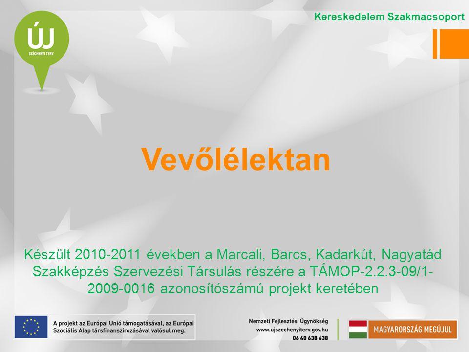 Vevőlélektan Készült 2010-2011 években a Marcali, Barcs, Kadarkút, Nagyatád Szakképzés Szervezési Társulás részére a TÁMOP-2.2.3-09/1- 2009-0016 azonosítószámú projekt keretében Kereskedelem Szakmacsoport