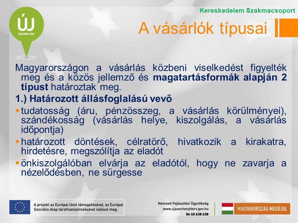 Magyarországon a vásárlás közbeni viselkedést figyelték meg és a közös jellemző és magatartásformák alapján 2 típust határoztak meg.