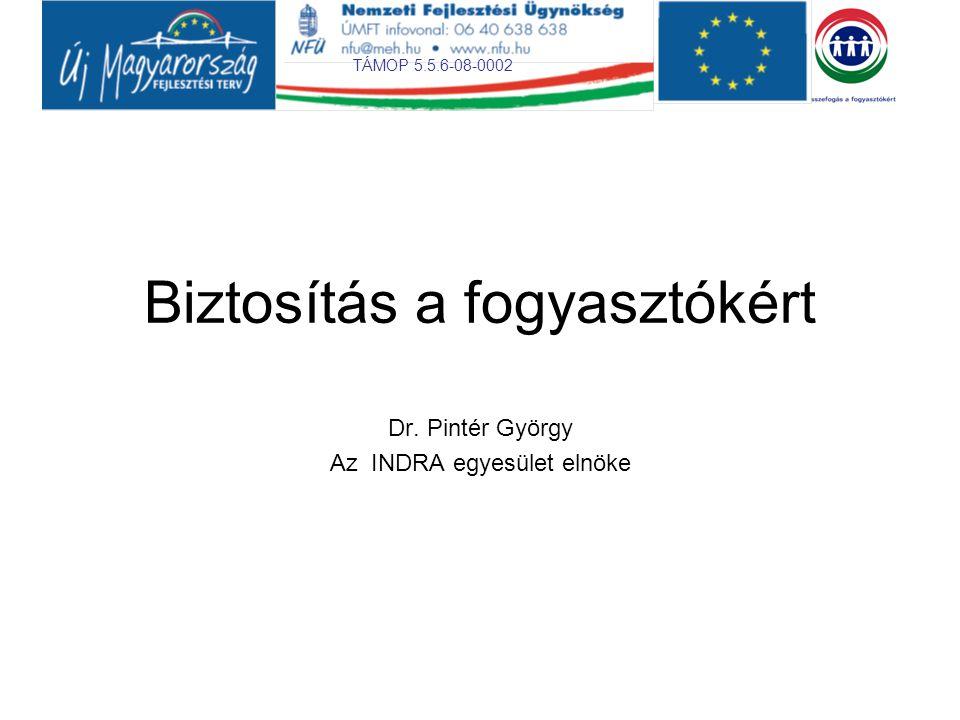 TÁMOP 5.5.6-08-0002 Biztosítás a fogyasztókért Dr. Pintér György Az INDRA egyesület elnöke