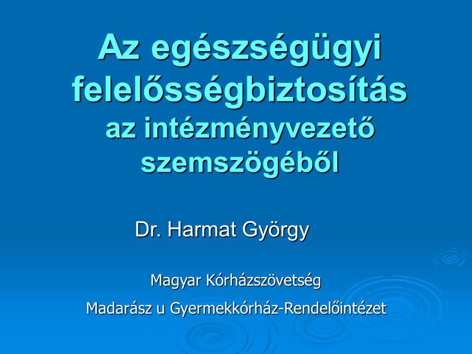 Az egészségügyi felelősségbiztosítás az intézményvezető szemszögéből Dr. Harmat György Magyar Kórházszövetség Madarász u Gyermekkórház-Rendelőintézet