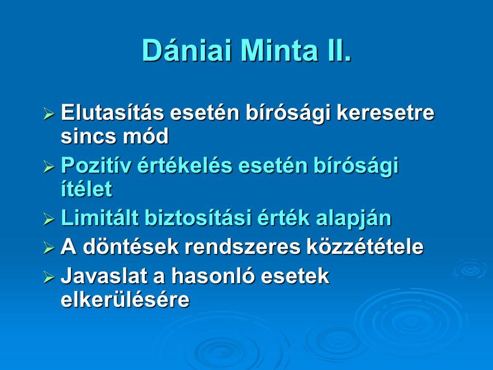 Dániai Minta II.  Elutasítás esetén bírósági keresetre sincs mód  Pozitív értékelés esetén bírósági ítélet  Limitált biztosítási érték alapján  A