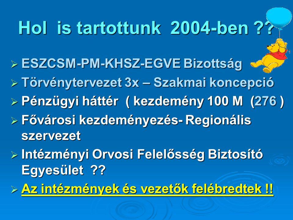 Hol is tartottunk 2004-ben ??  ESZCSM-PM-KHSZ-EGVE Bizottság  Törvénytervezet 3x – Szakmai koncepció  Pénzügyi háttér ( kezdemény 100 M (276 )  Fő
