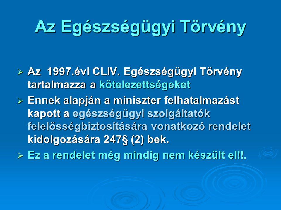 Az Egészségügyi Törvény  Az 1997.évi CLIV. Egészségügyi Törvény tartalmazza a kötelezettségeket  Ennek alapján a miniszter felhatalmazást kapott a e