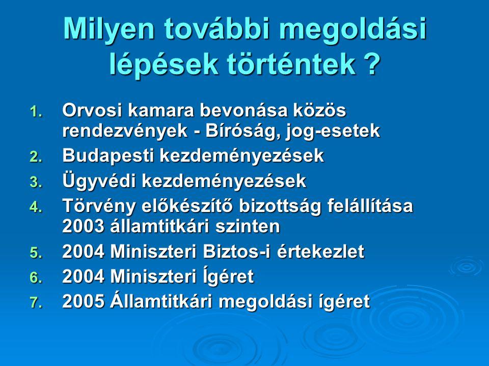 Milyen további megoldási lépések történtek ? 1. Orvosi kamara bevonása közös rendezvények - Bíróság, jog-esetek 2. Budapesti kezdeményezések 3. Ügyvéd