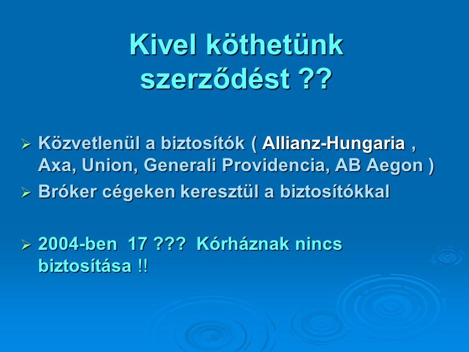 Kivel köthetünk szerződést ??  Közvetlenül a biztosítók ( Allianz-Hungaria, Axa, Union, Generali Providencia, AB Aegon )  Bróker cégeken keresztül a