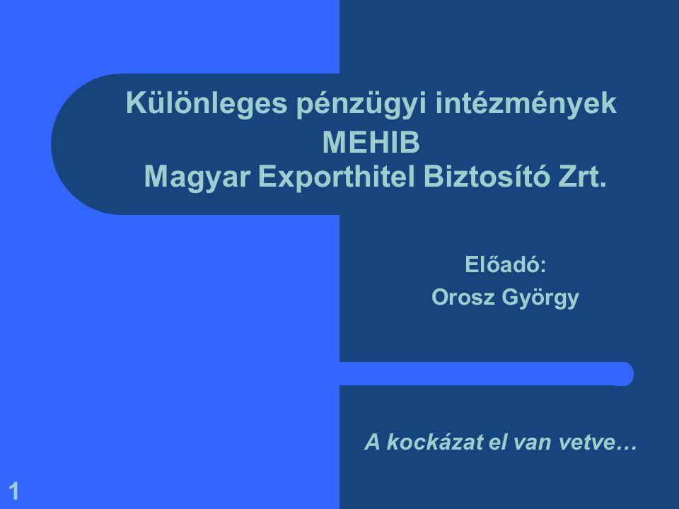 1 Különleges pénzügyi intézmények MEHIB Magyar Exporthitel Biztosító Zrt. Előadó: Orosz György A kockázat el van vetve…