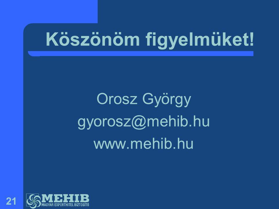 21 Köszönöm figyelmüket! Orosz György gyorosz@mehib.hu www.mehib.hu