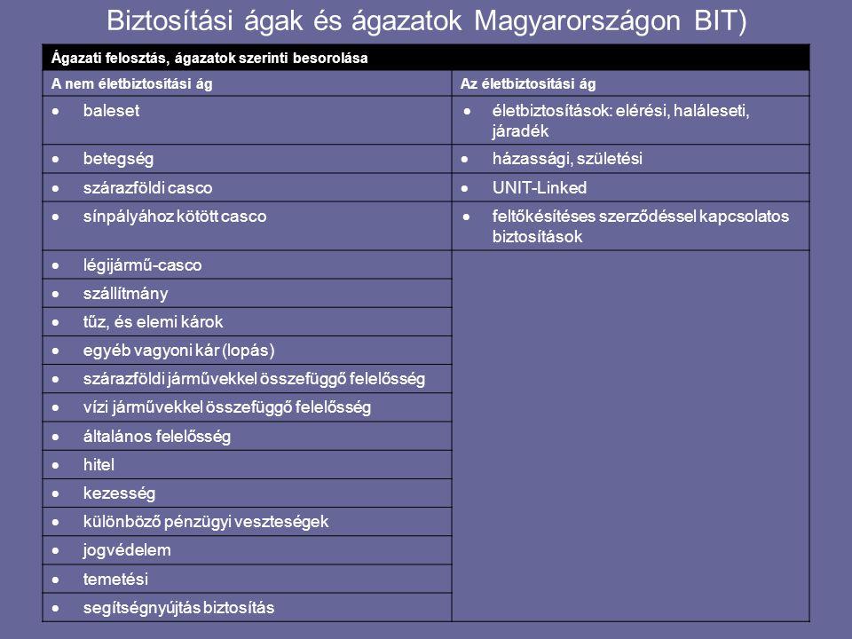 Biztosítási ágak és ágazatok Magyarországon BIT) Ágazati felosztás, ágazatok szerinti besorolása A nem életbiztosítási ágAz életbiztosítási ág  baleset  életbiztosítások: elérési, haláleseti, járadék  betegség  házassági, születési  szárazföldi casco  UNIT-Linked  sínpályához kötött casco  feltőkésítéses szerződéssel kapcsolatos biztosítások  légijármű-casco  szállítmány  tűz, és elemi károk  egyéb vagyoni kár (lopás)  szárazföldi járművekkel összefüggő felelősség  vízi járművekkel összefüggő felelősség  általános felelősség  hitel  kezesség  különböző pénzügyi veszteségek  jogvédelem  temetési  segítségnyújtás biztosítás