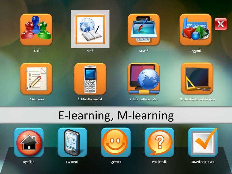 NyitólapEszközökIgényekProblémákKövetkeztetések Kik?Mit?Mivel?Hogyan? A felmérés 1. Mobilhasználat 2. Internethasználat 3. Oktatás korszerűsítése E-le
