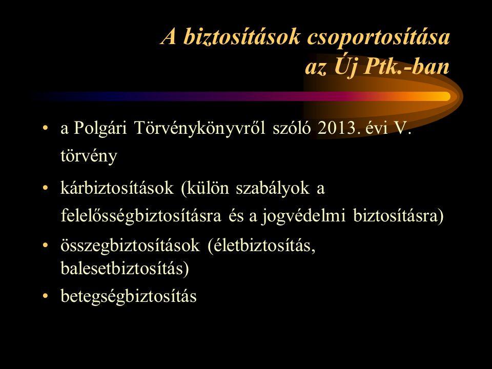 A biztosítások csoportosítása az Új Ptk.-ban •a Polgári Törvénykönyvről szóló 2013.
