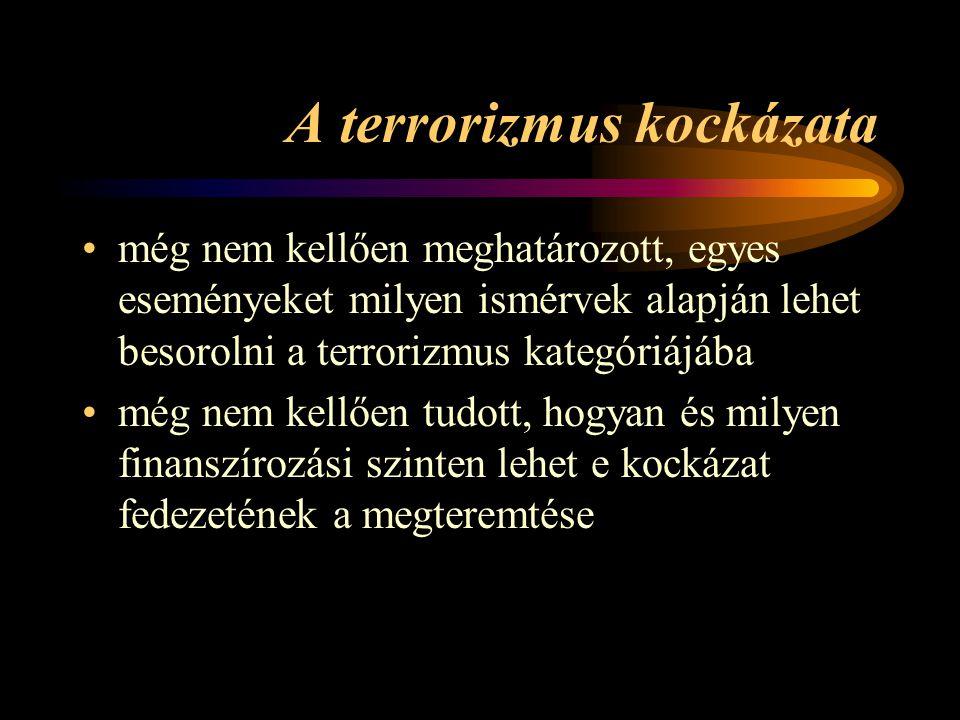 A terrorizmus kockázata •még nem kellően meghatározott, egyes eseményeket milyen ismérvek alapján lehet besorolni a terrorizmus kategóriájába •még nem kellően tudott, hogyan és milyen finanszírozási szinten lehet e kockázat fedezetének a megteremtése