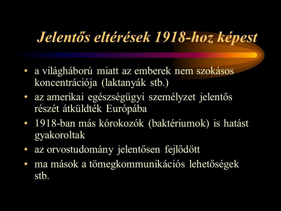 Jelentős eltérések 1918-hoz képest •a világháború miatt az emberek nem szokásos koncentrációja (laktanyák stb.) •az amerikai egészségügyi személyzet jelentős részét átküldték Európába •1918-ban más kórokozók (baktériumok) is hatást gyakoroltak •az orvostudomány jelentősen fejlődött •ma mások a tömegkommunikációs lehetőségek stb.