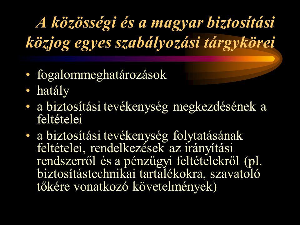 A közösségi és a magyar biztosítási közjog egyes szabályozási tárgykörei •fogalommeghatározások •hatály •a biztosítási tevékenység megkezdésének a feltételei •a biztosítási tevékenység folytatásának feltételei, rendelkezések az irányítási rendszerről és a pénzügyi feltételekről (pl.
