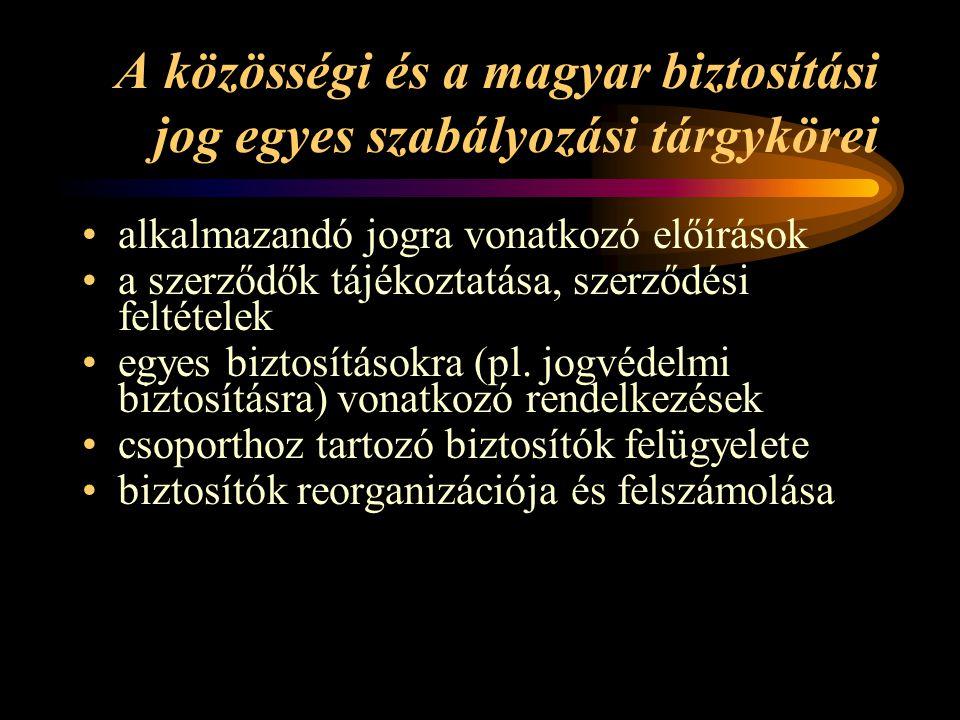 A közösségi és a magyar biztosítási jog egyes szabályozási tárgykörei •alkalmazandó jogra vonatkozó előírások •a szerződők tájékoztatása, szerződési feltételek •egyes biztosításokra (pl.