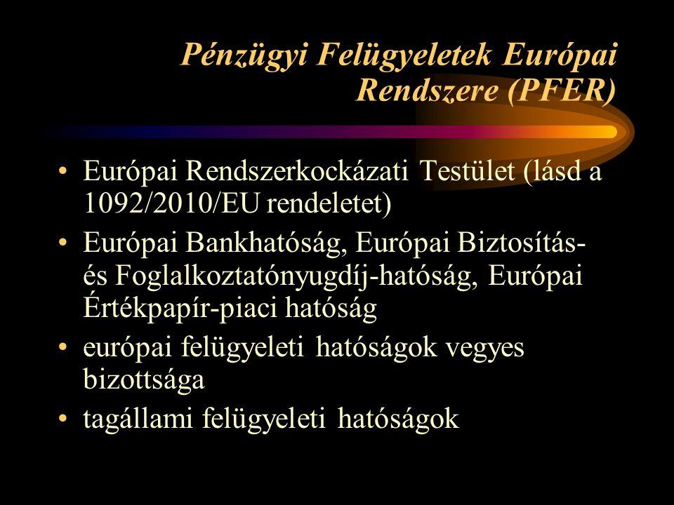 Pénzügyi Felügyeletek Európai Rendszere (PFER) •Európai Rendszerkockázati Testület (lásd a 1092/2010/EU rendeletet) •Európai Bankhatóság, Európai Biztosítás- és Foglalkoztatónyugdíj-hatóság, Európai Értékpapír-piaci hatóság •európai felügyeleti hatóságok vegyes bizottsága •tagállami felügyeleti hatóságok