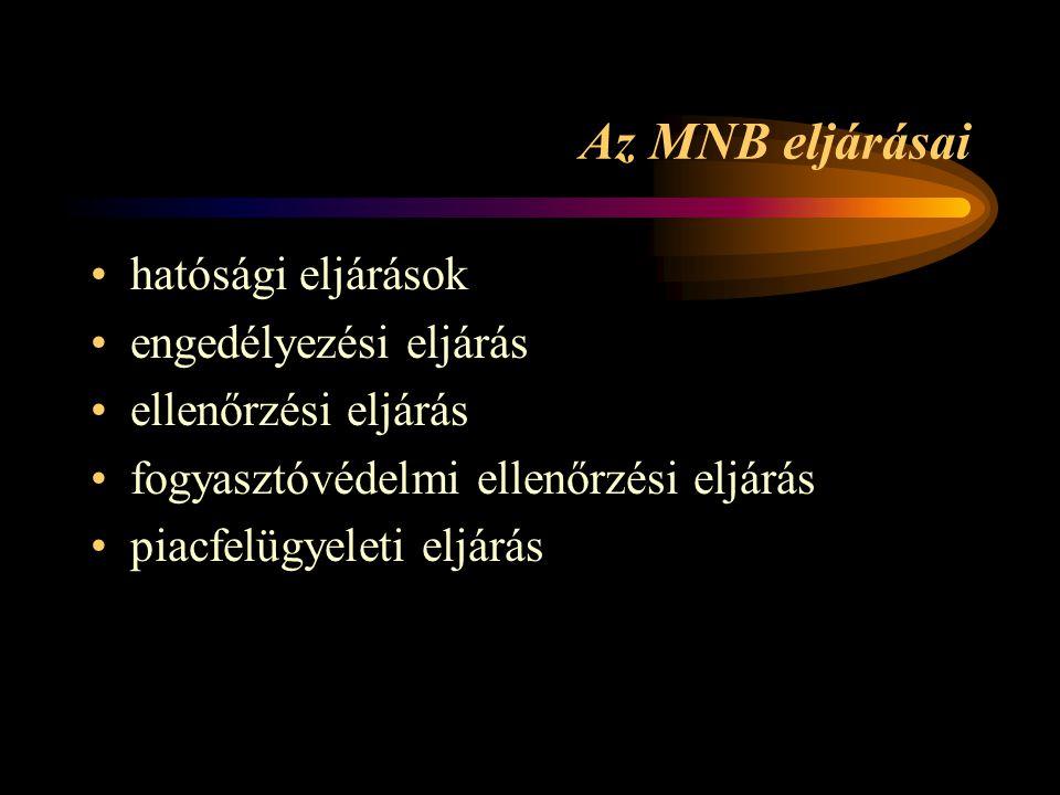 Az MNB eljárásai •hatósági eljárások •engedélyezési eljárás •ellenőrzési eljárás •fogyasztóvédelmi ellenőrzési eljárás •piacfelügyeleti eljárás