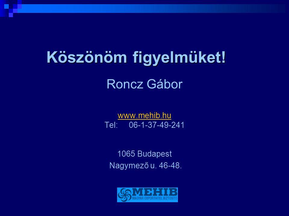 Köszönöm figyelmüket! Roncz Gábor www.mehib.hu Tel: 06-1-37-49-241 1065 Budapest Nagymező u. 46-48.