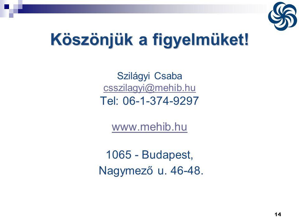 14 Köszönjük a figyelmüket! Szilágyi Csaba csszilagyi@mehib.hu Tel: 06-1-374-9297 www.mehib.hu 1065 - Budapest, Nagymező u. 46-48.