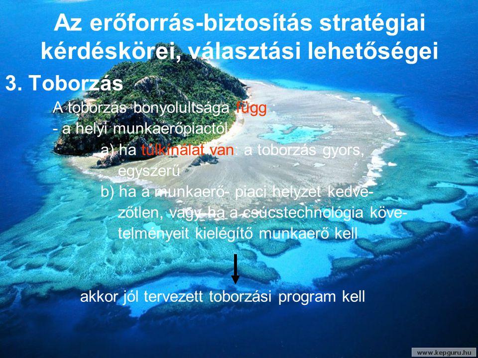 Az erőforrás-biztosítás stratégiai kérdéskörei, választási lehetőségei 3. Toborzás A toborzás bonyolultsága függ : - a helyi munkaerőpiactól a) ha túl