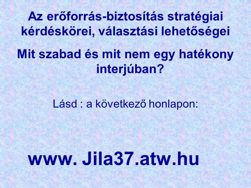 Az erőforrás-biztosítás stratégiai kérdéskörei, választási lehetőségei Mit szabad és mit nem egy hatékony interjúban? Lásd : a következő honlapon: www