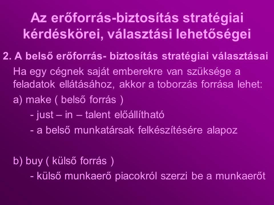Az erőforrás-biztosítás stratégiai kérdéskörei, választási lehetőségei 2. A belső erőforrás- biztosítás stratégiai választásai Ha egy cégnek saját emb