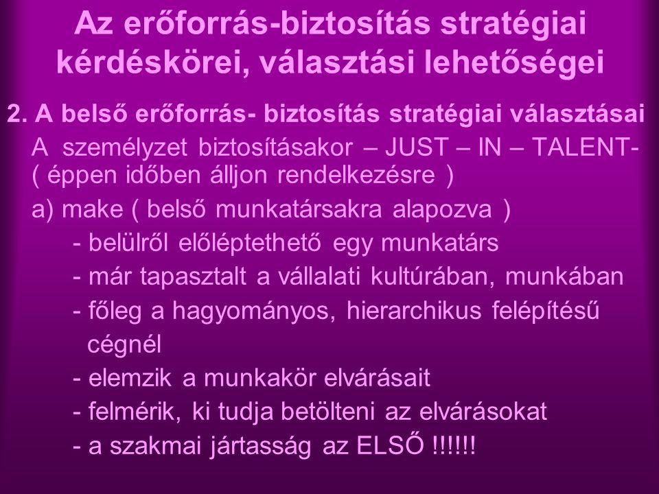 Az erőforrás-biztosítás stratégiai kérdéskörei, választási lehetőségei 2. A belső erőforrás- biztosítás stratégiai választásai A személyzet biztosítás